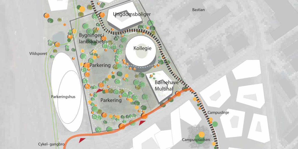 Udsnit af skitseidé, Plan og By, Horsens Kommune