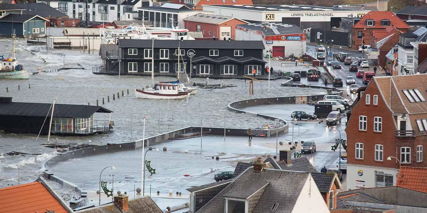 Lemvig Havn ved oversvømmelse (foto: Mads Krabbe / Realdania)